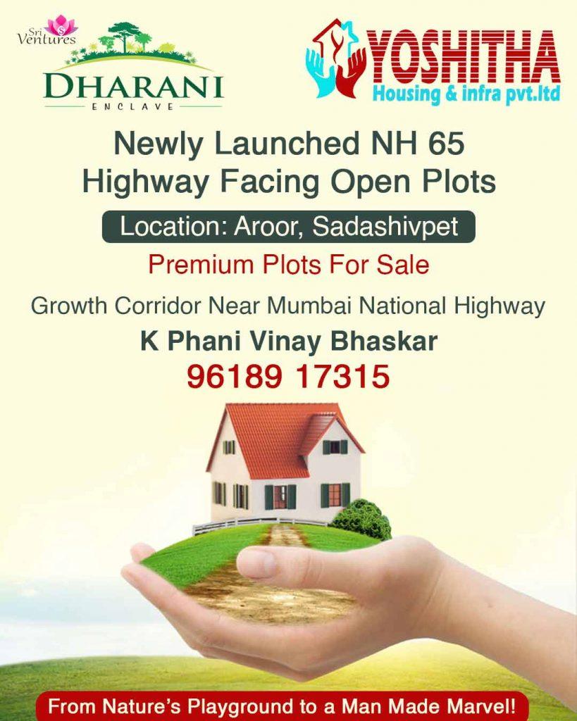Highway facing open plots for sale at Aroor, Sadasivpet near Mumbai Highway